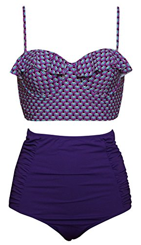 Dellukee Women's Vintage High Waist Bikini 50s Indigo Ruffle Halter Underwire Polka Dot Two Piece - Purple Bikini Halter