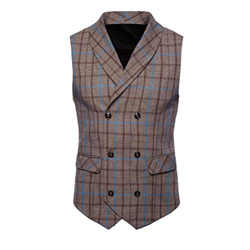 iLXHD Casual Men Plaid Printed Sleeveless Jacket Coat Suit Vest Blouse (Baseball Full Vest Button Jersey)