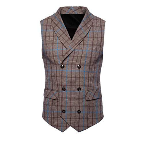 iLXHD Casual Men Plaid Printed Sleeveless Jacket Coat Suit Vest Blouse (Vest Baseball Full Jersey Button)
