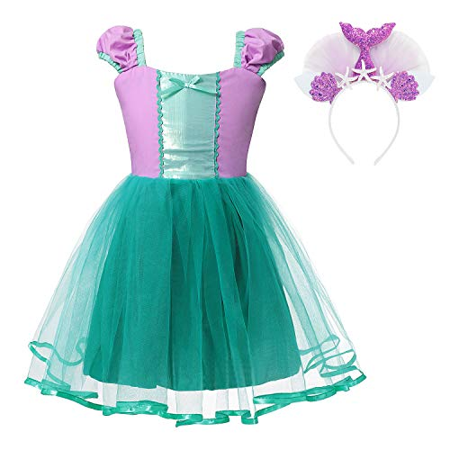 Princess Belle Snow White Rapunzel Cinderella Little Mermaid Costume Dress for Toddler Girls Cosplay (Little Mermaid, 2-3 -