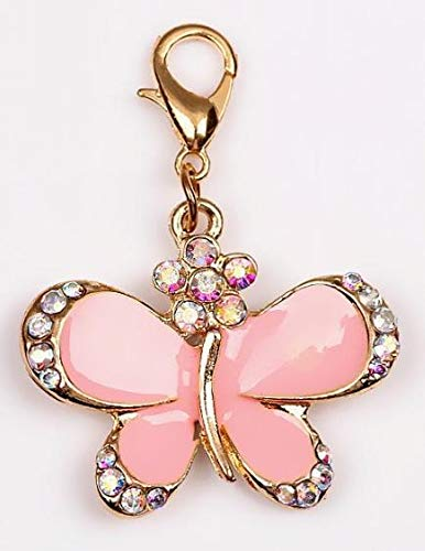 Butterfly Beautiful Charm - Beautiful Pink Butterfly & Iridescent Rhinestones Charm Embellish Your Purse, Also for DIY Arts & Craft Charm, Pendant, Backpack, Keychain, Unique Charm, KandyCharmz 243
