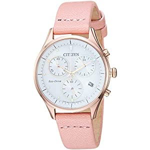 Citizen Women's Eco-Drive Stainless Steel Japanese-Quartz Leather Calfskin Strap, Pink, 15 Casual Watch (Model: FB1443-08A)