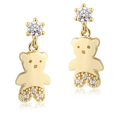 Teddy Ring 14k Bear (UNICORNJ Childrens 14k Yellow Gold Cubic Zirconia Teddy Bear Dangle Post Earrings Italy)