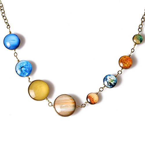 Planet Pendant Necklaces for Women - Solar System Double-sided Handmade Steel Chain Cross Necklace