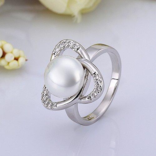 Fashion 925 Sterling Silver Swarovski Crystal Pearl Wedding Ring Size 7,8 LR004 (Silver, US 8)