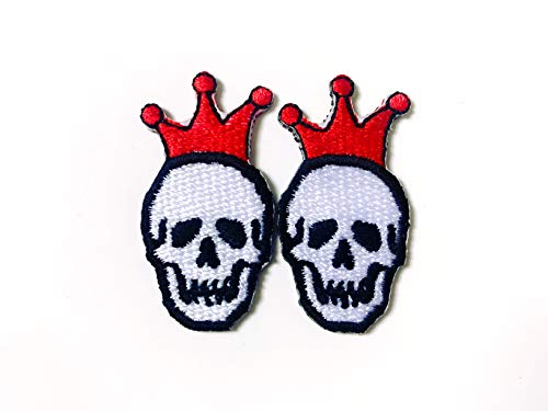 Tyga_Thai Brand Set 2 pcs. Mini Little Skull White Color Red Crown Cute Cartoon Sew on Iron on Embroidered Applique Patch Store (Iron-Skull-Crown)