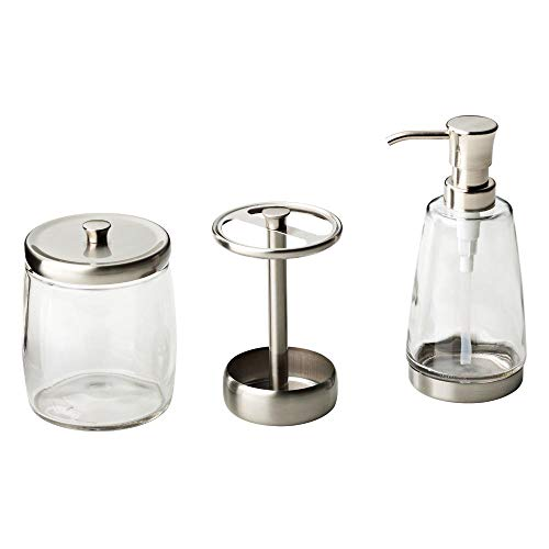 Delta 3-Piece Bathroom Countertop Accessory Kit in Satin Nickel, Soap Glass Dispenser, Toothbrush Holder, Glass Apothecary Jar