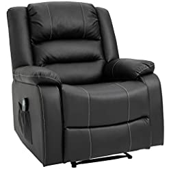 Living Room HOMCOM Vibrating Massage PU Leather Recliner Chair, Footrest with Remote Control, and 8 Massaging Points, Black