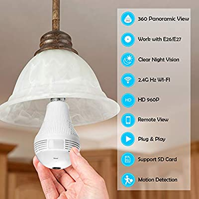 360 Degree Panoramic Light Bulb WiFi Security Camera, BESDERSEC HD 960P Wireless Camera for Home Baby Pet Monitor Remote Viewing Camera Night Vision Motion Detection Wireless Camera 2.4GHz by BESDERSEC