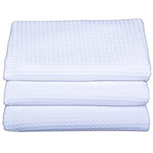 Sinland Waffle Weave Microfiber Kitchen Towels Dish Cloths 16 Inch X 24 Inch 3 Pack White