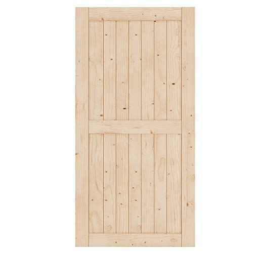 EaseLife 42in x 84in Sliding Barn Wood Door Slab,Solid Nature Spruce,DIY Unfinished Panel,Interior Door,Easy Install,H…