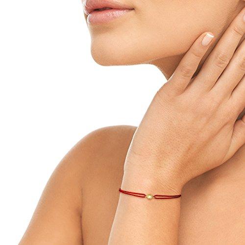 Tousmesbijoux Bracelet diamant serti clos sur Or jaune 750/00 - cordon rouge