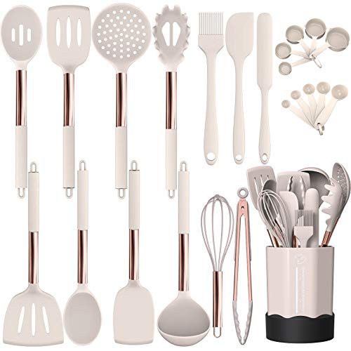 Silicone Cooking Utensil Set, Fungun Kitchen Utensils Set with Stainless Steel Handle 24 Pcs Kitchen Gadgets Cookware…