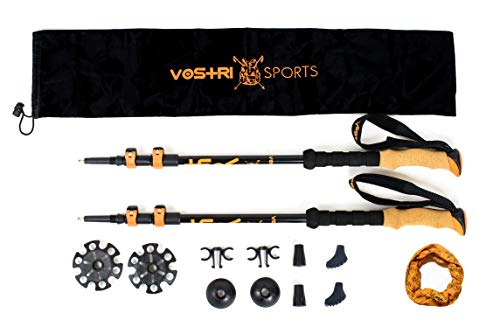 Vostri Sports Lightweight Telescopic Walking Poles with Natural Cork Grip and Extended EVA Handle for Trekking, Hiking, Northern Walking with All Terrain Accessories, a Carry Bag and a Sweat Bandana