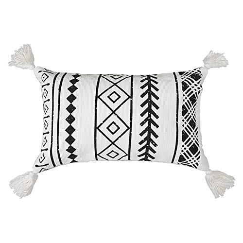 (Tassels Lumbar Throw Pillow Cover   Decorative Hand Woven Long Cushion Pillows Case with Distressed Style Black and White Plaid Pillow 12x20 Inches)