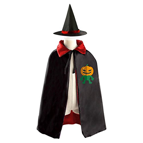 Wicked Pumpkin Boy Reversible Halloween Costume Witch Cape Cloak Kid's Hat - Dracula Costume For Kids Homemade