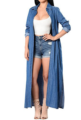 - Nulibenna Women's Casual Denim Thin Cardigan Trench Side Slit Long Kimono Blouse