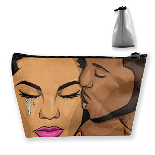 Women Girls Makeup Cosmetic Case Holder for Makeup Brushes Digital Accessories Travel, Large Capacity Cosmetic Train Case Multi-Purpose Handbag, African American Black People Lovers Couple Art