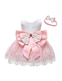 LZH Baby Girl Dress Formal Baptism Gowns Pageant Dress Toddler