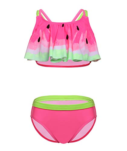 - BELLOO Girls Bikini Sets Two Piece Swimsuits Pink Watermelon Flounce Bathing Suits, 7-8