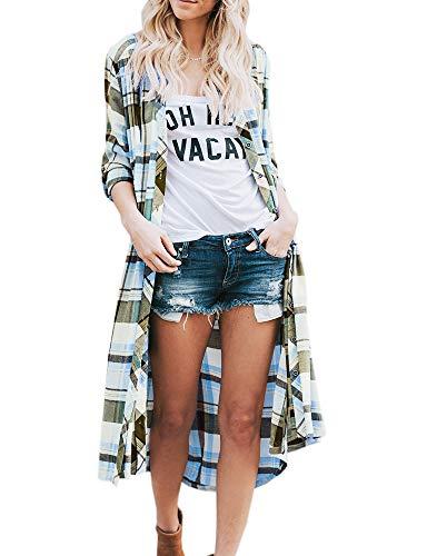 (Women's Lightweight Long Cardigan Casual Plaid Print Open Front Kimono Outwear Blue)