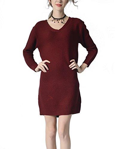 Choco Mocha Womens V-Neck Long Sleeve Plain Sweater Dress for Fall Burgundy