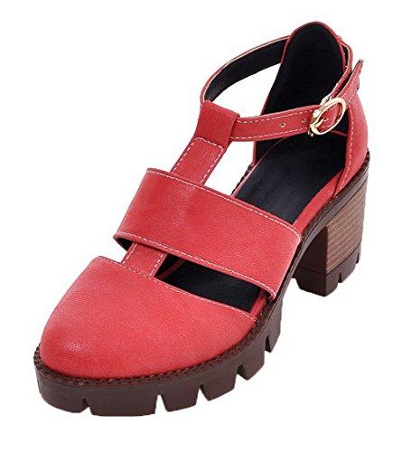 VogueZone009 Women Buckle PU Round-Toe Kitten-Heels Solid Sandals Red