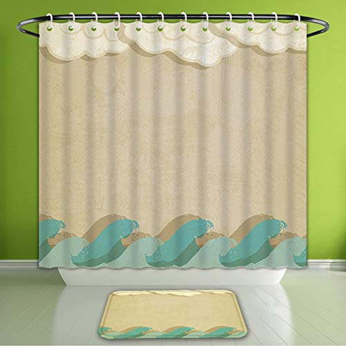 (Waterproof Shower Curtain and Bath Rug Set Ocean Waves and Clouds Grunge Vintage Design Watet Silhouette Bath Curtain and Doormat Suit for Bathroom Extra Wide Size 78