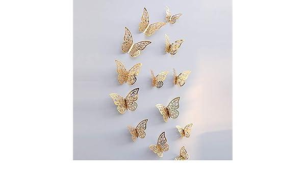 BaZhaHei 12 piezas 3D hueco pared pegatinas mariposa nevera ...