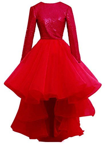 High Sequins Lace Dress Up Low Sleeve Red Bess Prom Bridal Long Women´s Evening 60qnUwZ