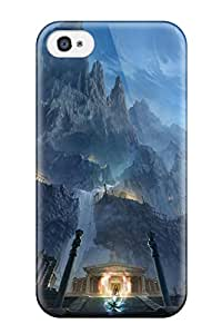 Defender Case For Iphone 4/4s, Mountains Night Moon Fight Rocks Fantasy Art Magic Temples Saint Seiya Anime Manga Greek Temples Pattern