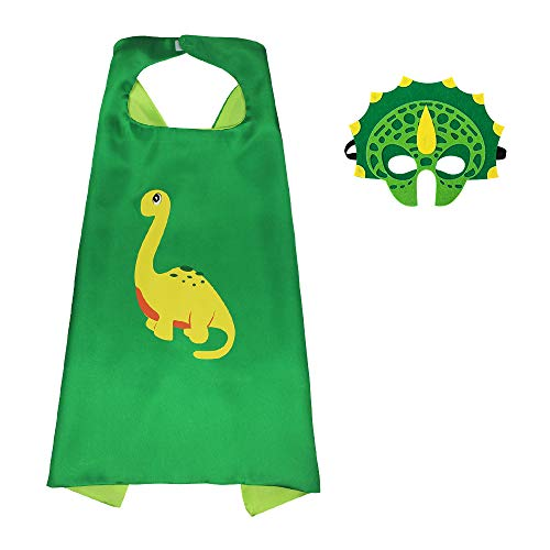 HugeHug Halloween Dinosaur Cape and Mask Cloak Role Play Dress Up Costumes Themed Birthdays Party Supplies for Kids Favors (Green) -
