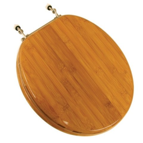 Laminated Wood - Comfort Seats C1B2R2-20BN Wood Round Toilet Seat with Brushed Nickel Hinges, Rattan Bamboo