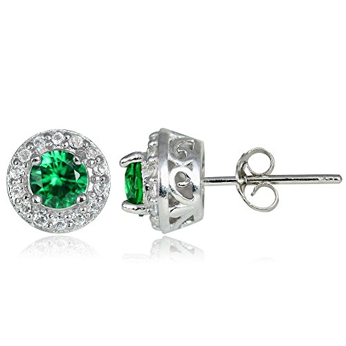 Sterling Silver Synthetic Emerald & White Topaz 4mm Halo Stud - Synthetic Earring Emerald