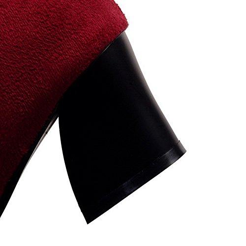 AllhqFashion Mujeres Tacón ancho Puntera Redonda Cremalleras Botas con Metal Rojo