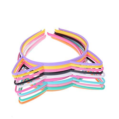 Ujuuu 10 PCS, Cat Ear Headbands Plastic Cat Hairband Cat Bow Hairbands Makeup Party Headwear for Women Girls, Random Color