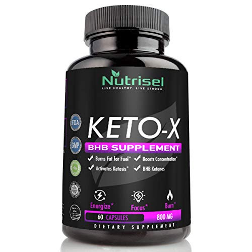 (Keto-X - The Best Keto Diet Pills by Nutrisel | (60ct. x 800mg) Premium Keto BHB Salts | Exogenous Ketones + Caffeine Free | Best Energy Pills for Metabolism, Focus & Appetite Suppressant)