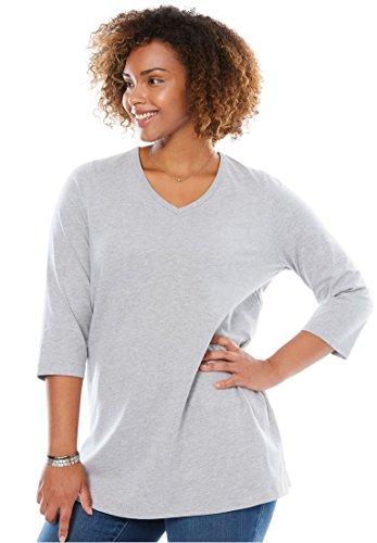 Women's Plus Size Three Quarter Sleeve Perfect Tee Heather Grey,1X (3 Quarter Sleeve Tee)