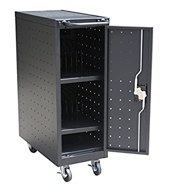 "Pearington 12TABLET-01 12 Bay Tablet and Computer Charging Cart, 39.9"" Height, 20.5"" Wide, 23.6"" Length, Black"