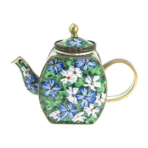 Miniature Teapot by Kelvin Chen, Floral Malva, Handmade and Enameled with HInged Lid, 4.25