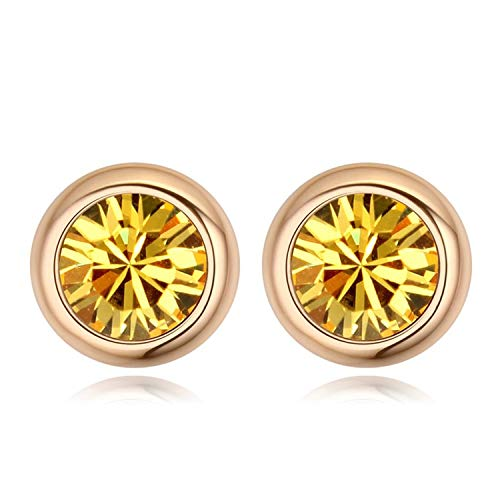 4b218bd70 Amazon.com: from Swarovski Fashion Round Stud Earrings Brincos Jewellery  Bijoux Gold Color Earrings for Women Man: Cell Phones & Accessories