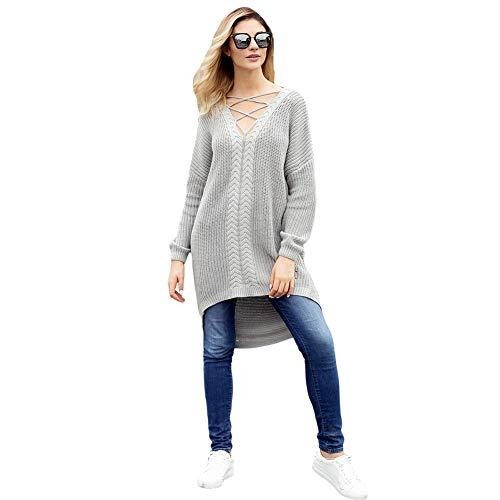 Allentato A Maglioncino Grey Da lungo Casual Donna Medio Con V Pullover Collo OOqExH0