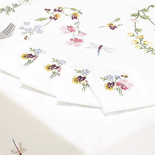 Napkins Stamped Embroidery - Nob Hill Dragonfly Napkins Stamped Embroidery
