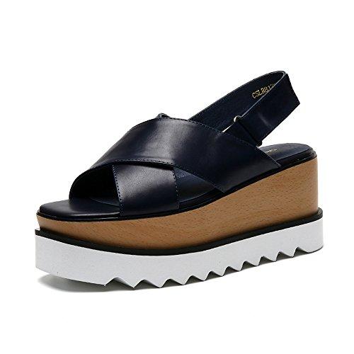 Cómodo Zapatillas de verano de tacón alto Zapatillas de exterior resistentes al agua Zapatillas altas Zapatos gruesos Pendiente con zapatillas de tamaño opcional Aumentado ( Tamaño : 39 )