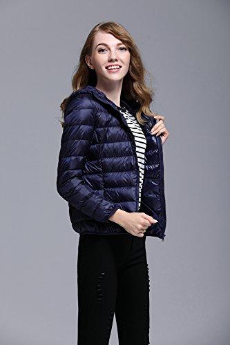 Corto Incappucciato Donna Chick Navy Cappotto Cherry Blu Impacchettabile Piumino 41Aqt6