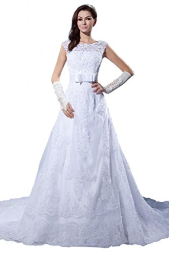 ASBridal A line Scoop Lace Wedding Dresses Long Birdal Gown with Satin Sash White US 24W