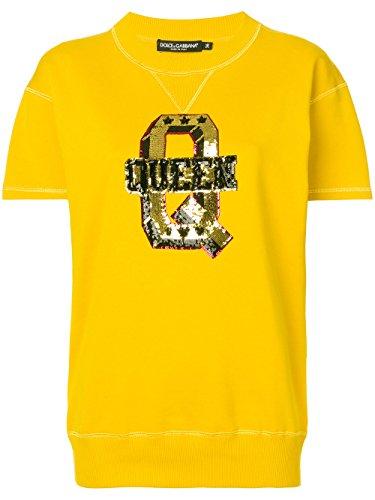 Dolce e Gabbana Women's F9b99zfu7dua0106 Yellow Cotton Sweatshirt Dolce & Gabbana Women Sweaters