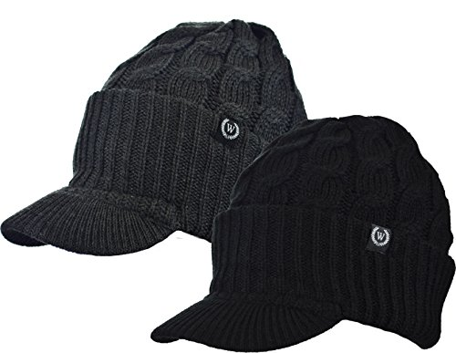 Newsboy Cable Knitted Hat with Visor Bill Winter Warm Hat for Women in Black, Charcoal, Dark Brown, Hot Pink, Red, White (Black-Charcoal)