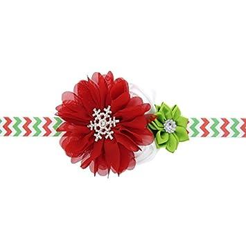 bc5454f1dc7a7 Bandeau 3 PCS De Noël Décoration Bébé Enfant En Mousseline de Soie Fleur  Bandeau