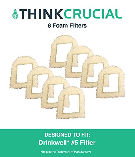 8 Replacements for Drinkwell Foam Pre Filters, Fits 360, Lotus, Avalon, Pagoda & Sedona Pet Fountains, by Think Crucial (Drink Well Pagoda)